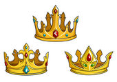 Photo Royal golden crowns with jewelry
