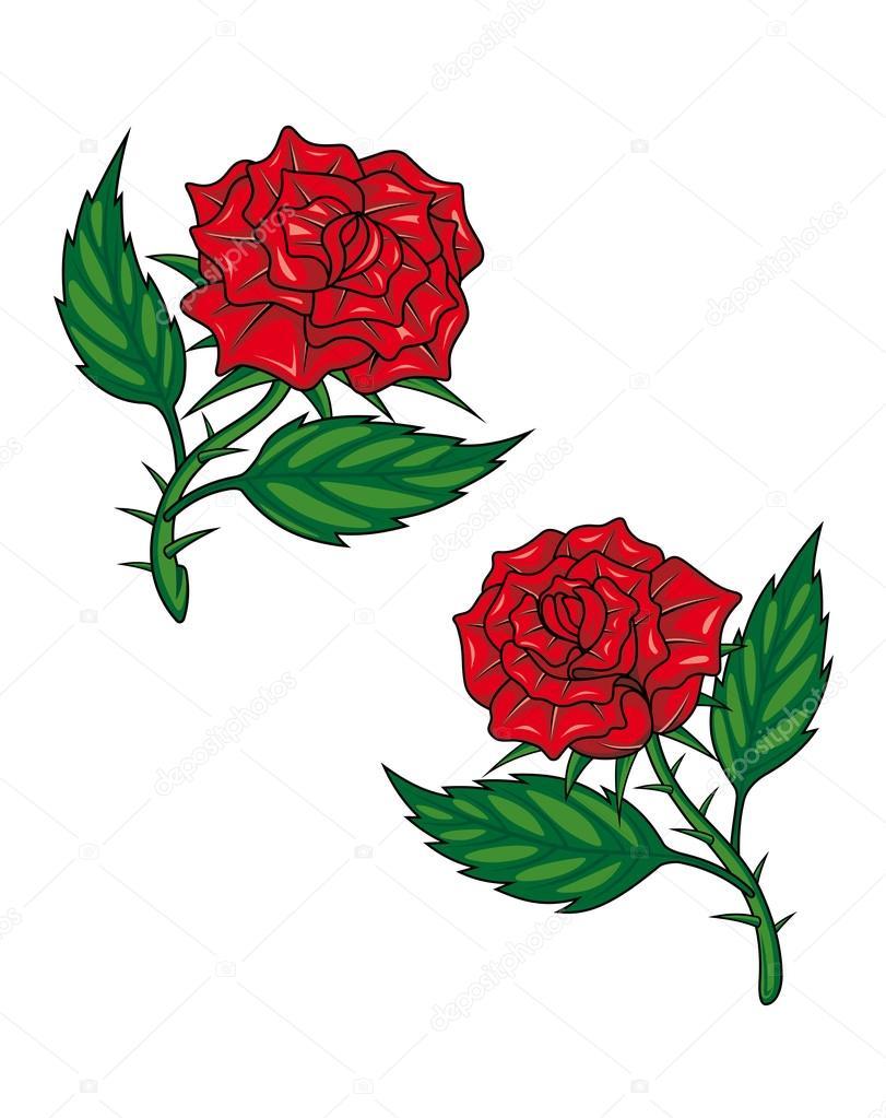 Deux Roses Rouges De Dessin Anime Image Vectorielle Buchan C 43174417
