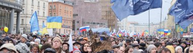 Panorama of protest manifestation of muscovites against war in Ukraine