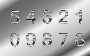 Silver chrome and aluminum vector numbers