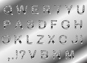 Photo Vector set of silver metallic fonts