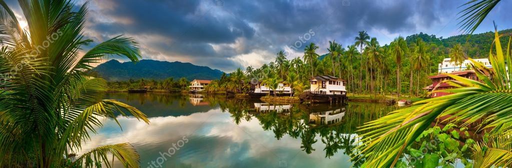beautiful hotel in the tropics. panorama