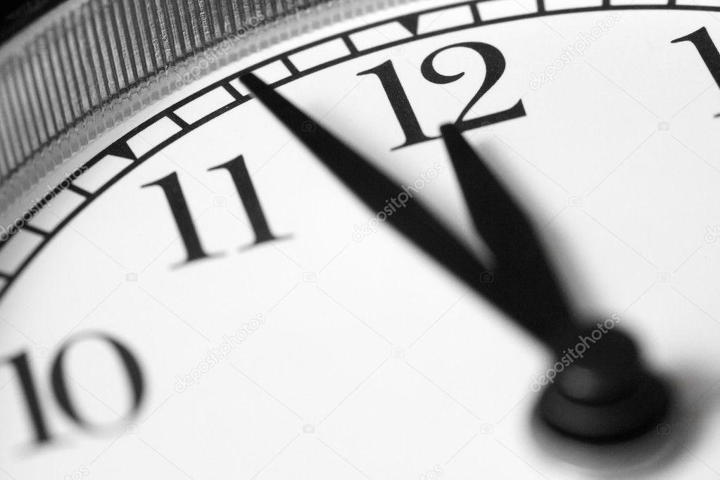 Clock, black and white photo