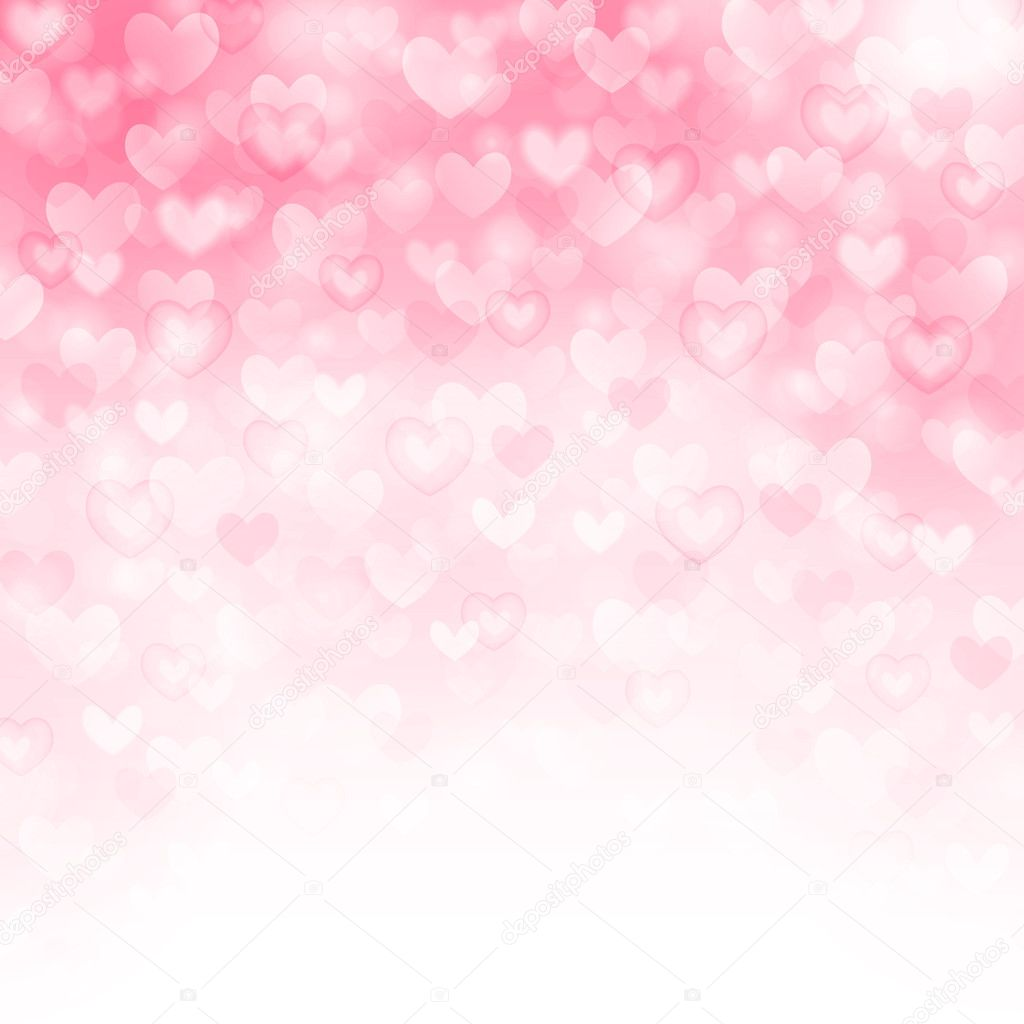 Vector background with beautiful pink hearts
