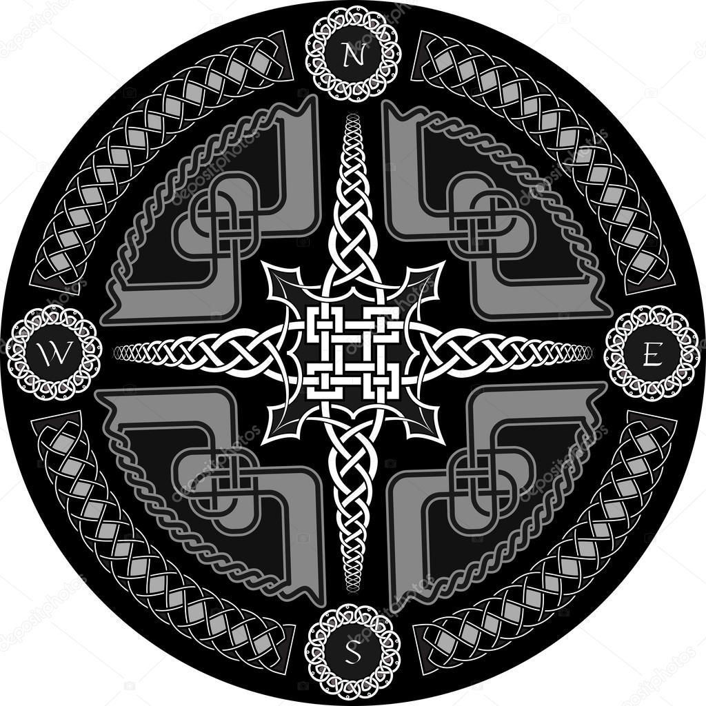 Decoratieve Kompas In Keltische Stijl Stockvector Nikolaich