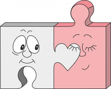 A jigsaw pieces couple cartoon