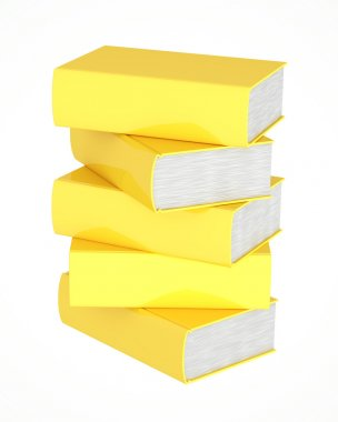 Stack of golden books on white background