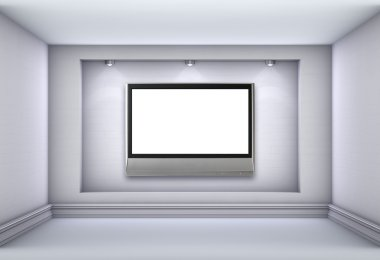 3d niche with spotlights and empty lcd tv for exhibit in the gre