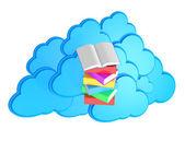 Fotografie E-lerning concept / Stack of multicolored books with open book b