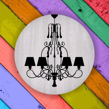 silhouette of luxury chandelier on a Colorful Vector Wooden Plan