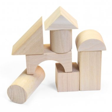 Wooden building blocks on a white background