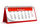 3D papír červený stůl 2013 rok kalendář - měsíc srpen