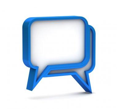 Blue dialog icon on a white background