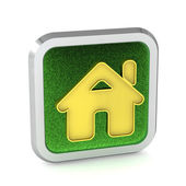 Photo green grass home button icon on a white background