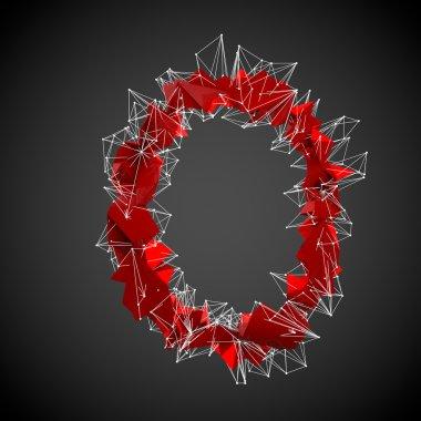 Red modern triangular shape of letter