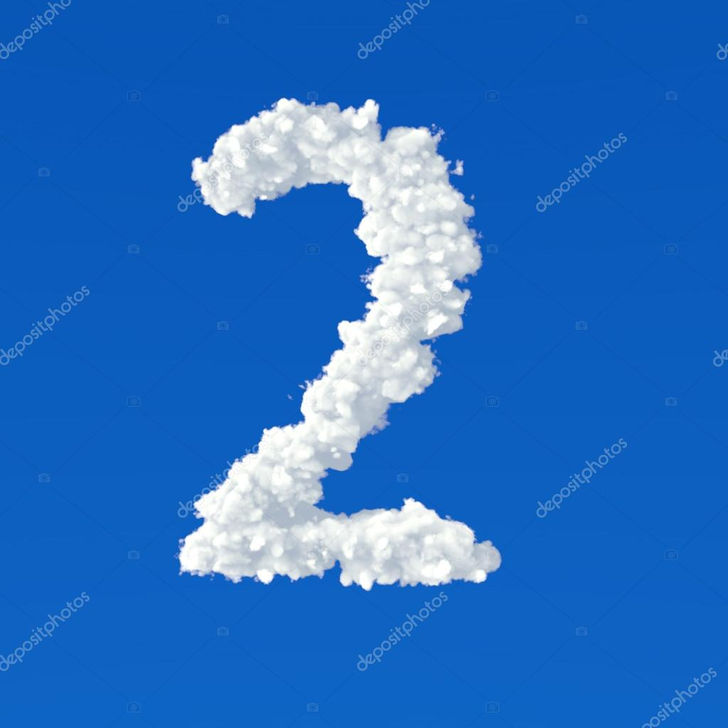 Clouds in shape of number two on a blue background