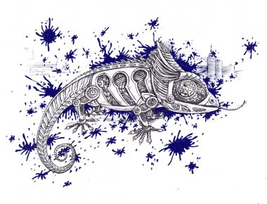 Creative drawing of a mechanic reptile - hand-drawn illustration