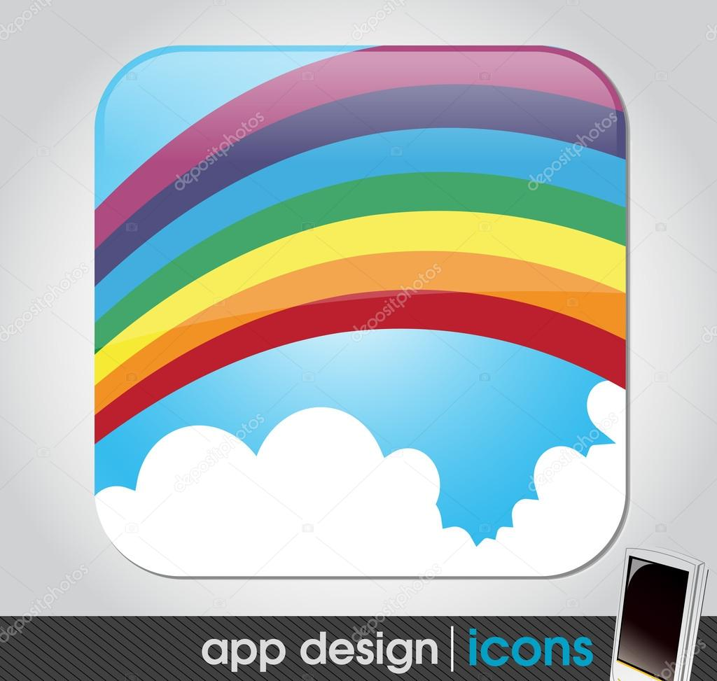 Rainbow in the sky - eco and weather app icon for mobile devices