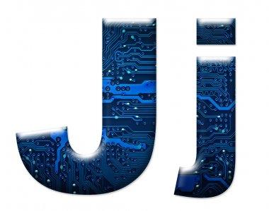 Digital letter J on the white background