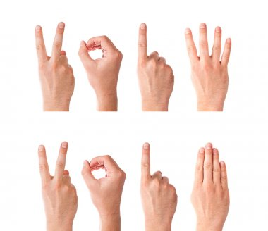 Set of Man Hands Forming Number 2014 On a White Background stock vector