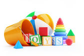 Fotografie hračky abeceda kostky, nafukovací míč, pyramida