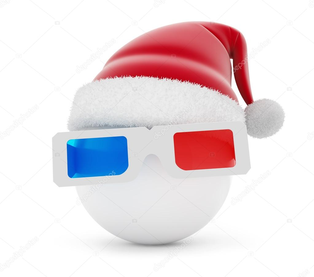 3d glasses ball santa hat on a white background — Photo by 3dfoto