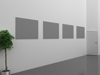 Dark gallery Interior with empty frame on wall