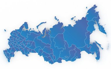 Map of Russia with regions isolated on white