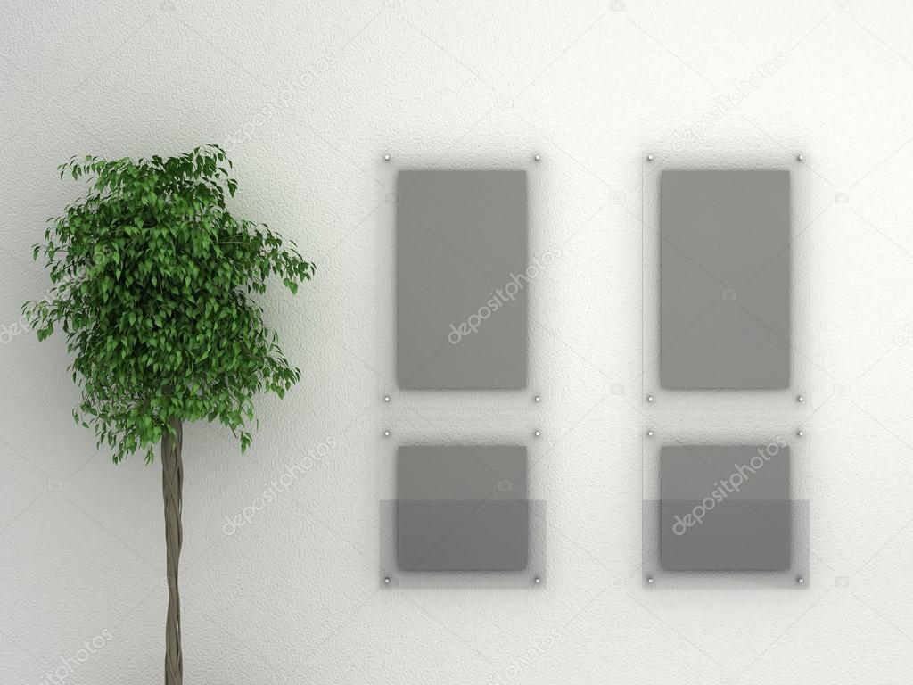 pared de la Galería blanco con marco de cristal cartel — Fotos de ...