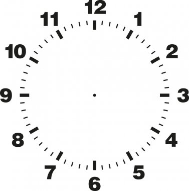 White and black vector template of clock dial stock vector