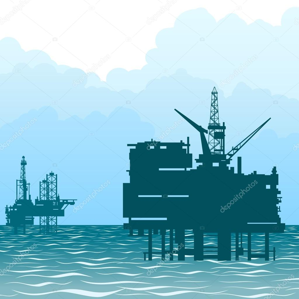 Oil rigs at sea