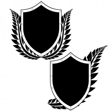 Shield and a laurel branch