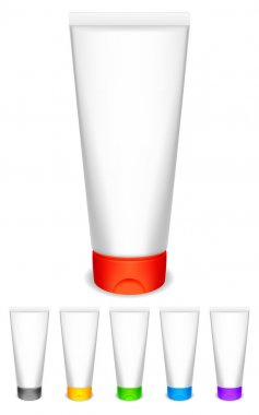 Cream tubes with color caps.