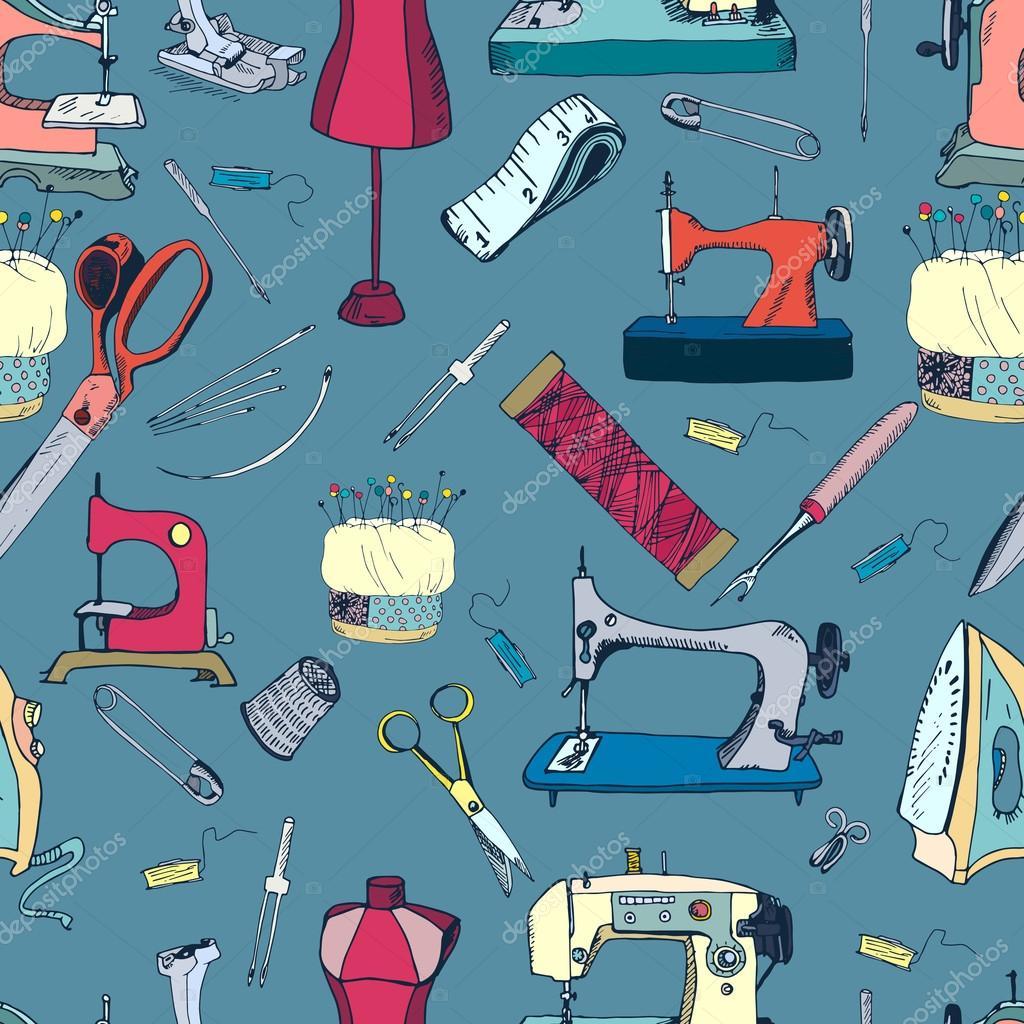 Nähen-Tools, Vintage nahtlose Muster — Stockvektor © nurofina #43638841