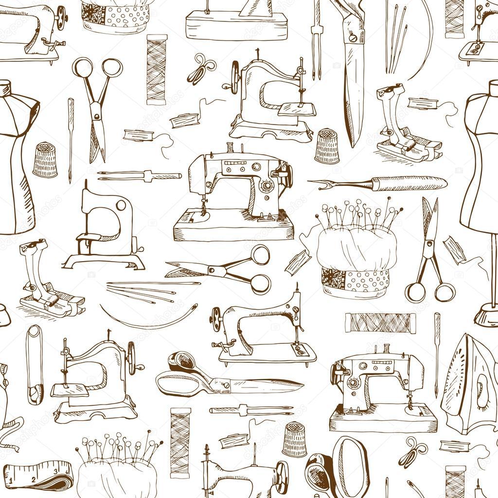 nahtlose Muster, Nähen-Werkzeuge — Stockvektor © nurofina #43727229
