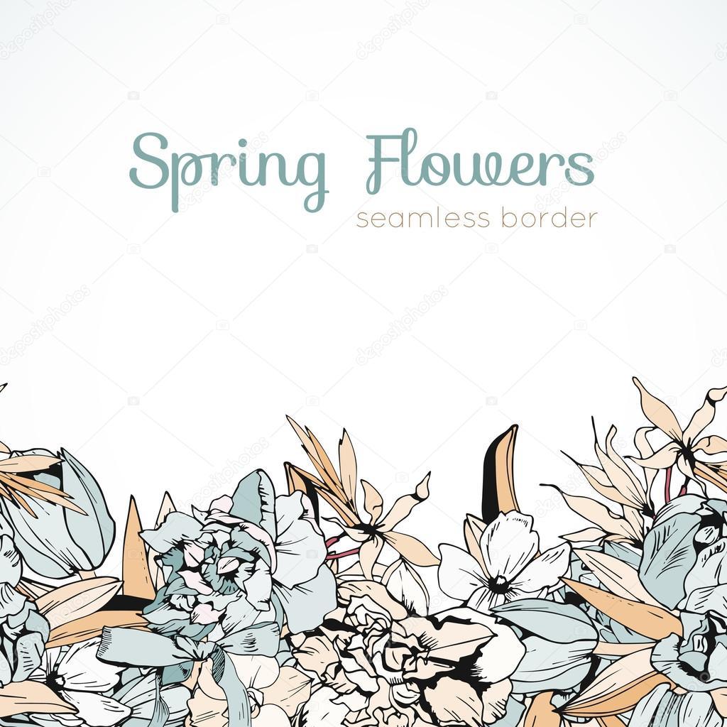 Wedding colored spring flowers, seamless border