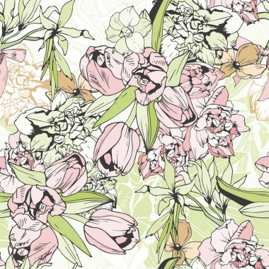 Tender seamless pattern with tulips and narcissus