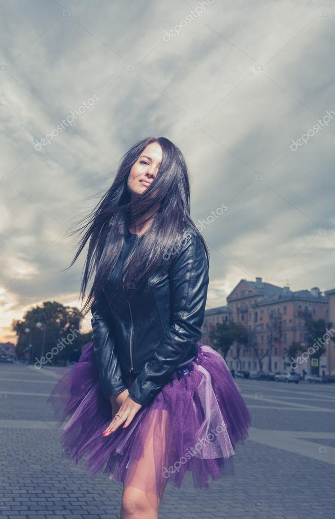 Sexy Brunette Outdoors Weared Black Leather Jacket And Ballet Tutu