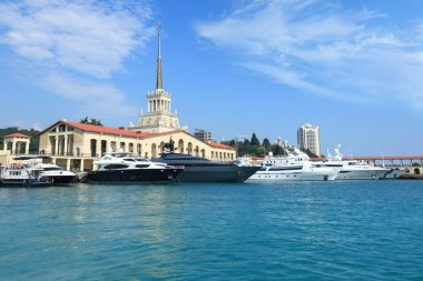Yachts on raid in port of the Sochi
