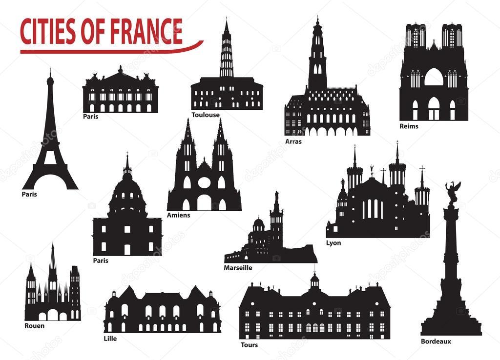 フランスの都市のシルエット \u2014 ストックベクタ