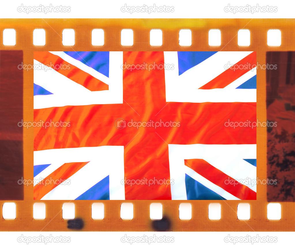 cosecha vieja película de foto marco con la Unión jack — Fotos de ...