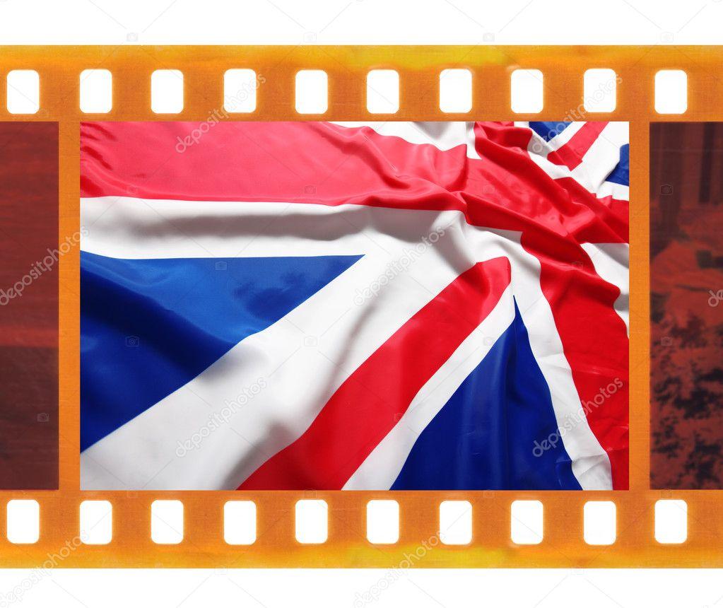 Vintage antiguo marco foto película de 35mm con bandera británica ...