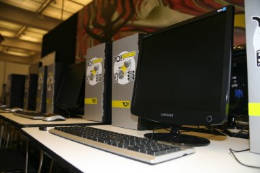Interior of internet cafe