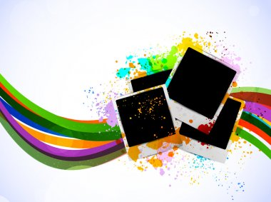 Bright background with photo frames