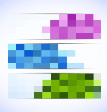 Set of pixelated banners