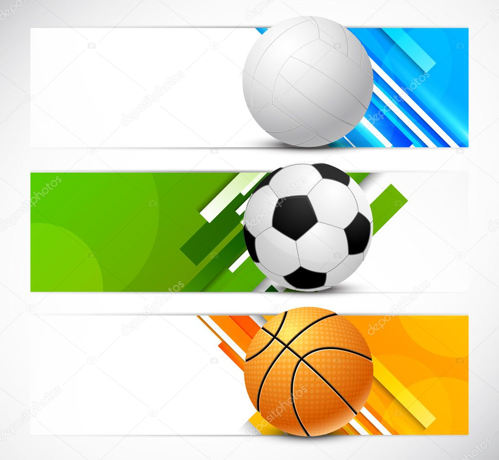 Set of banners with sport balls