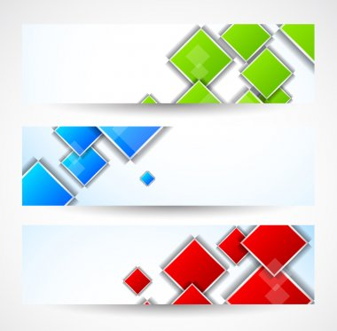 Set of banners with squares