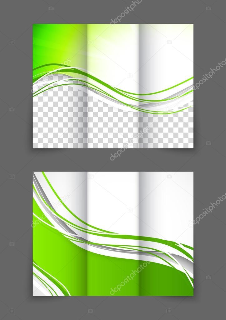 tri-pliegue folleto ola verde — Vector de stock © Denchik #50158495