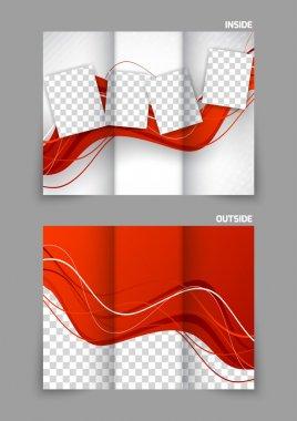 Red wavy tri fold brochure