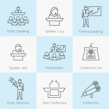 Set of public speaking icons